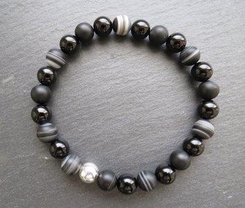 Onyx en agaat armband
