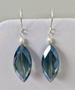Oorbellen blauw facet kristal